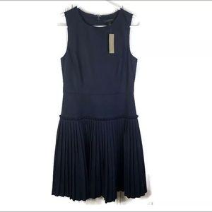 J Crew Cotton Pique Dress Pleated Sleeveless